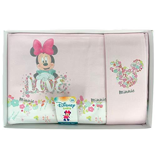 Disney 1232 Parure de lit bébé Minnie 3 pièces en Coton étamé - Rose
