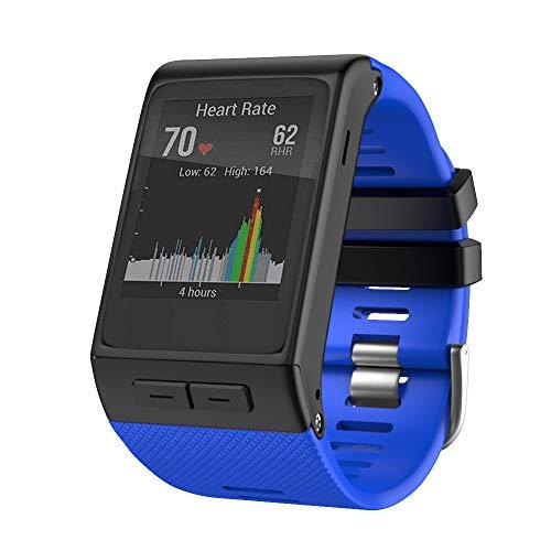 ANBEST Cinturino di ricambio compatibile con Garmin Vivoactive HR, in morbido silicone, con adattatore, adatto per cinturini Vivoactive HR Premie, blu reale