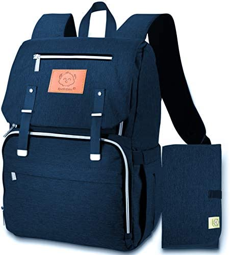 Diaper Bag Backpack for Mom and Dad Diaper Changing Mat Included Navy Blue product image