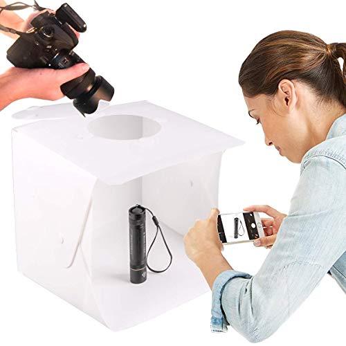 """YLOVOW Tragbares Fotostudio, Elegante Auswahl 9,45\""""X 8,66\"""" X 8,86\""""Einstellbare Helligkeit Fotografie Studio Box Schießzelt Mini Klapptischplatte LED-Lichtbox-Kit Mit 6-Farben-Hintergrund"""
