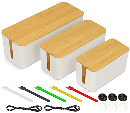 Cord Organizer Cable Management Box Holder Set of 3 for Cords, Power Strips or Surge Protectors, Hide Loose Wires Behind TVs Home Office Computers Office Desks Entertainment Centers