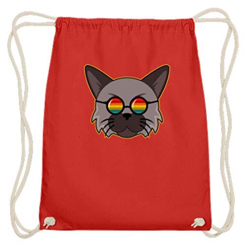 Gato moderno con gafas de sol arcoíris hippie – Diseño sencillo y...