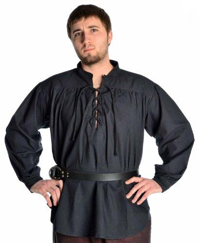 HEMAD Mittelalter Hemd Schnürhemd Stehkragen Hemd schwarz L