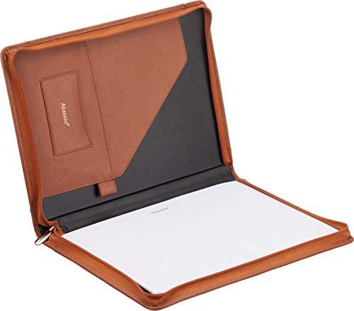 Alassio 30098 - Cartella portadocumenti A4 Vallo in pelle nappa, marrone, ca. 33 x 25 x 2,5 cm