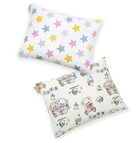 Set van 2 hoofdkussens voor kinderen, hypoallergeen babykussens voor alle slaapposities - kinderkussens gemaakt van gesiliconiseerde holle polyestervezels in bolletjes gevormd en katoenen kussensloop