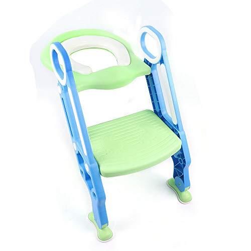 Orinal antideslizante con cojín de espuma suave, altura regulable, asiento de inodoro para niños de 1 a 7 años, máx. 75 kg (azul y verde)