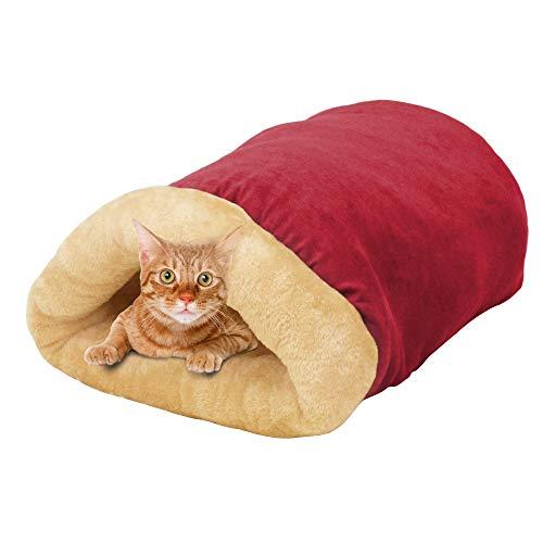 GOOPAWS 4 in 1 Self Warming Burrow Cat Bed, Pet Hideway Sleeping Cuddle Cave...