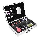 Kit de extensión de maquillaje de pestañas postizas Herramienta de práctica para principiantes, kit de extensión de pestañas Pro 20 piezas con pinzas, tijeras, pegamento y estuche, etc. Juego