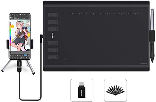 HUION New 1060PLUS Tableta Grafica, 8192 Niveles, 5080LPI, Tamaños Grandes, Tableta Gráfica con 12+16 Llaves Expresas, Portátil para Pintar, Dibujar y Editar Photos, Compatible con Windows & Mac