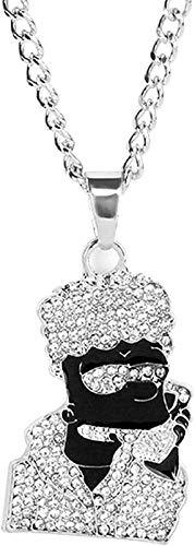 ZGYFJCH Co.,ltd Collar Simple Simpson Cadena Collar Hip Hop Rock Collar Grande y Pandents Bling Cadena Cubana Hombres Collar de Oro Joyería