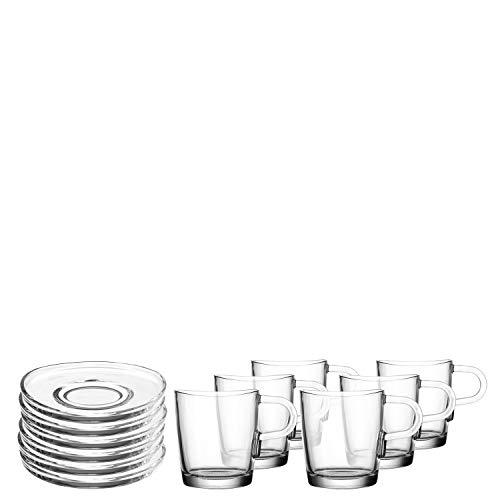 Leonardo Loop Kaffee-Tasse und Unterteller, spülmaschinengeeignete Kaffee-Gläser mit Untertassen, 12er Set, 260 ml, 032833