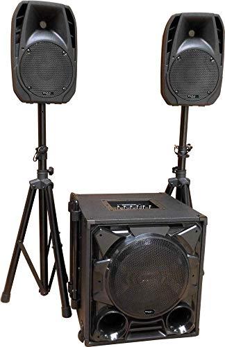 "IBIZA CUBE1100-BT 2.1 Aktiv Lautsprecher Set 12\"" Subwoofer Stativen 400 Watt RMS Disco Party DJ Club Event"