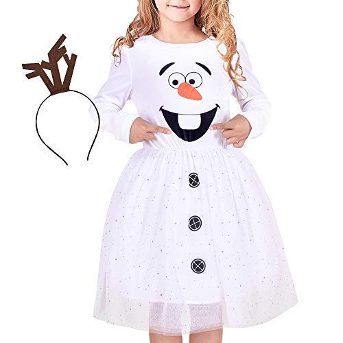 Sunny Fashion Vestido para niña Disfraz para Monigote de Nieve Navidad Fiesta de Halloween Venda 5 años