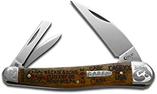 CASE XX Tang Stamps Curly Oak Wood Seahorse Whittler Stainless Pocket Knife Knives