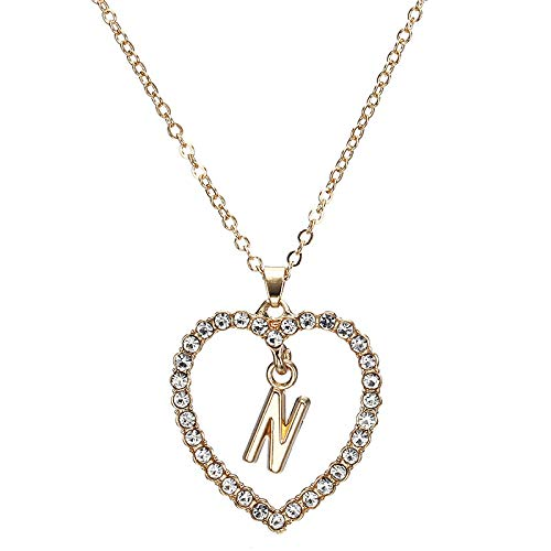 DGSDFGAH Necklace Women Cubic Zirconia Initial Charm Necklace Ladies Necklace Fashion Crystal Bezel N Initial A-Z Letter Choker Necklace For Women Gifts For Women Elegant Gift Box