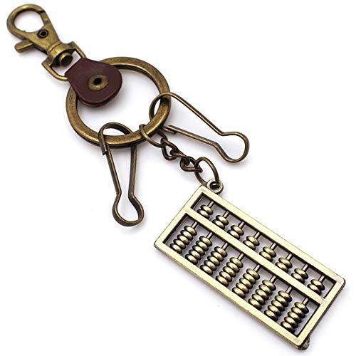 Herren Leder Schlüsselanhänger, Europäisches Metall Bronze Abakusform Vintage Nagel Leder Schlüsselring Taille Anhänger, Handwerk Zubehör Freund Liebhaber Papa Paar Festival Party Geschenk