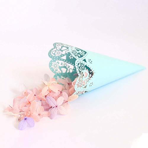 Sumshy 100pcs Conos Papel Tiffany con Adhesivo de Doble Cara Arroz Boda Blanco Cucuruchos Petalos Confeti Decoración Boda