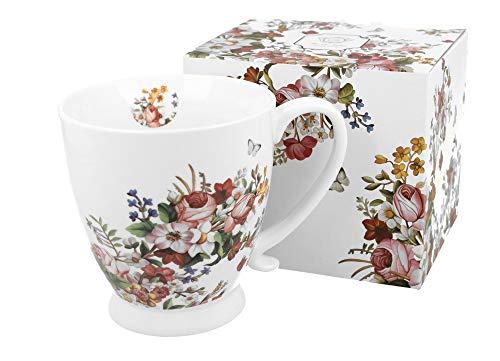 Duo, tazza grande XXL con motivo floreale, 450 ml, in porcellana, tazza da caffè, regalo per ufficio, tazza da tè, cappuccino, tazza da caffè, tazza gigante, tazza grande, tazza vintage, fiori bianchi
