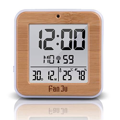 Digital Wcden DC Alarma TermóMetro HigróMetro Escritorio Mesa Reloj 2 Despertador Diario RetroiluminacióN AutomáTica