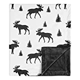 Sweet Jojo Designs Woodland Moose Rustic Patch Baby Boy Receiving Security Swaddle Blanket for Newborn or Toddler Nursery Car Seat Stroller Soft Minky - Black and White