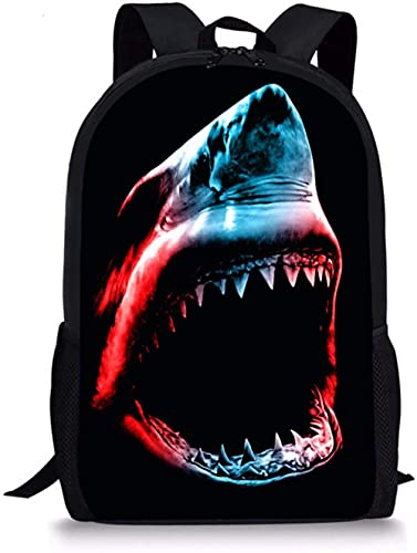 ANTSBOOM Mochila para la escuela, con 2 bolsas laterales de malla, para niños, niñas y adolescentes, viajes, deportes al aire libre, Tiburón Animal, Talla única