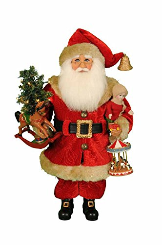 Karen Didion Originals Lighted Carousel Dreams Santa Figurine, 17 Inches - Handmade Christmas Holiday Home Decorations and Collectibles
