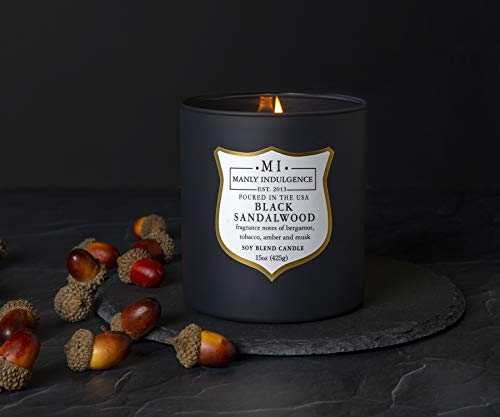 Manly Indulgence Scented Jar Candle, Black Sandalwood, Signature Collection, Soy Wax Blend, Wooden Wick, 15 Oz, Single (Bergamot, Tobacco, Amber & Musk)