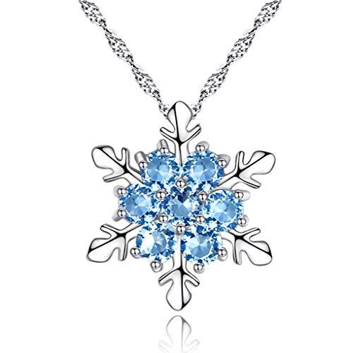 Lumanuby 1 Pcs Silver Crystal Snowflake Pendant Necklace Festival Gift Beautiful Aquamarine Crystals Jewelry Accessories
