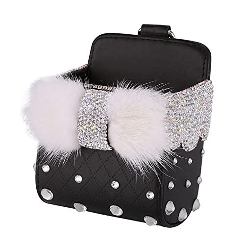 ZYFBBLDDBB Dxi Store Bowknot Mink Fur Crystal Outlet Outlet Air Vent Box Box Auto Teléfono Móvil Titular Rhinestones Bolsa Organizador Colgante Bolsa de Almacenamiento (Color Name : Black Bowknot)