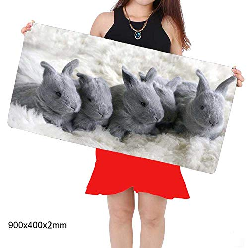 HonGHUAHUI grijze konijnen-diercomputer-afsluitrand, grote muismat, laptop-toetsenbord 400x900x2MM A05.