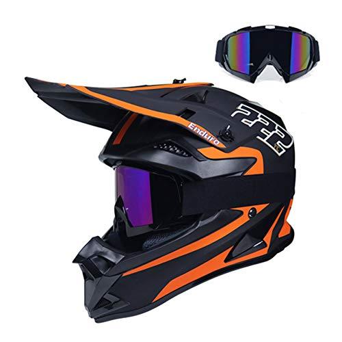 LEENP Casco de Motocross Naranja Negro Mate Casco de Cross con Gafas,...