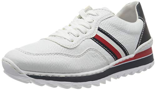 Rieker Damen Frühjahr/Sommer M6923 Slip On Sneaker, Weiß (Weiss/Pazifik/ 80 80), 37 EU
