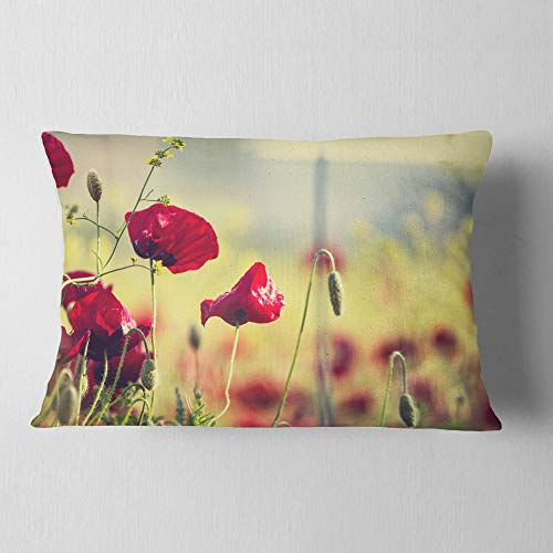 Amazon For Designart Poppy Flowers On Green Background Floral Throw Lumbar Cushion Pillow Cover For Living Room Sofa 12 In X 20 In Ibt Shop