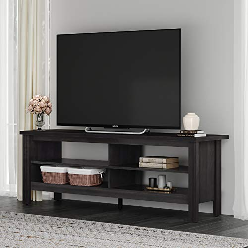 Wampat Farmhouse TV Stand for TV's up to 65' Flat Screen Living Room Storage Shelves Entertainment Center, 59 Inch, Black