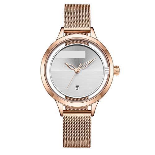 QHG Reloj de Moda Pulsera de Moda Relojes de Cuarzo Casual Ladies Cuarzo Relojes de Pulsera Reloj de Acero Inoxidable Correa (Color : RG/W)