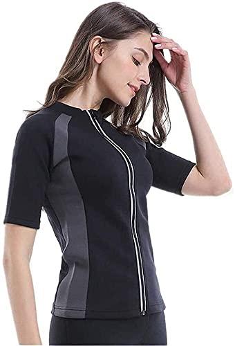 Traje de sauna para mujer, chaqueta de sauna para entrenamiento, camisa de entrenamiento de cintura, camiseta sin mangas de entrenamiento de gimnasio con cremallera ( Color : Short sleeve , Size : L )