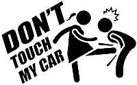 UYEDSR 車のステッカー 15.7X9.6CM DO N T TOUCH MYCARビニールデカールカーステッカー面白い漫画-Black_2pc S