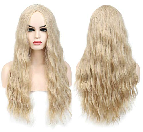 SHINYSHOW 26 inches Blond 613 long Wavy Wig Middle Part Synthetic Halloween Party Cosplay Wig for Women Blonde Wig