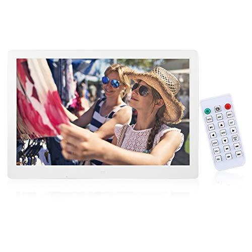 Digitaler Bilderrahmen,15,4 Zoll 1280x800HD Digital Photo Bilderrahmen Wecker Player Album Fernbedienung Unterstützung MP3 MP4 Videoplayer unterstützt USB-und SD-Karte (Weiß)