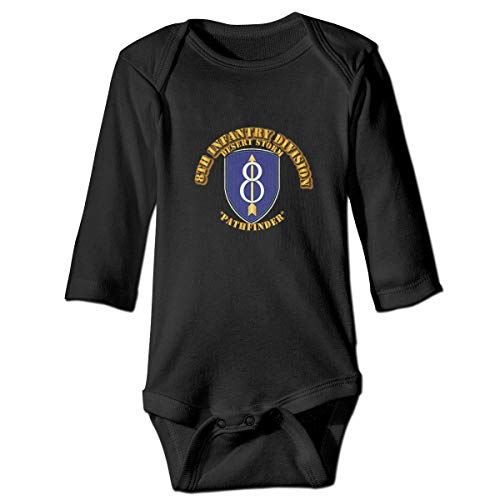 8th Infantry Division Pathfinder Baby Romper Long Sleeve Bodysuit Novelty Long Sleeved Jumpsuit Gift for Newborn Black