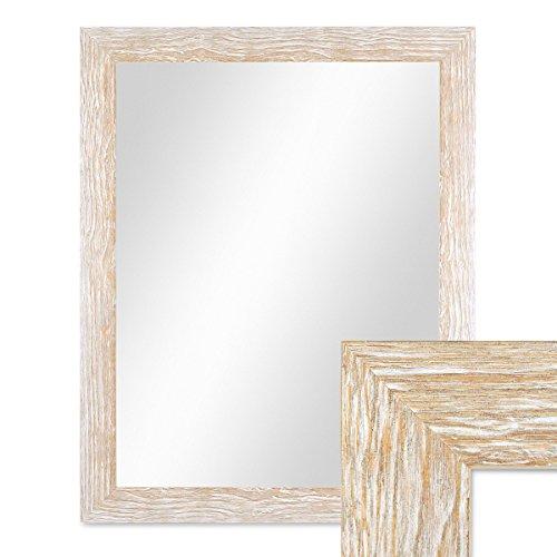 PHOTOLINI Wand-Spiegel 48x58 cm im Holzrahmen Sonoma Eiche-Optik Hell Gekalkt Modern/Spiegelfläche 40x50 cm