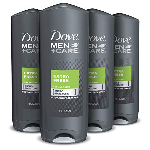 Dove Men+Care Body Wash For Men's Skin Care Extra Fresh Dermatologist Recommended Shower Gel and Bodywash 18 oz, 4 Count