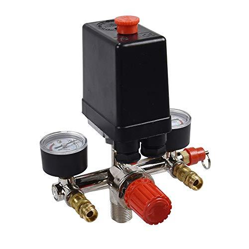 Air compressor pressure control switch valve pressure gauge