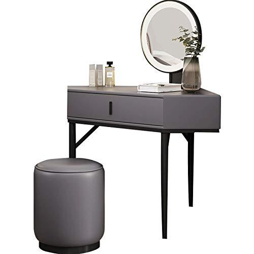 HongTeng Dressing Ecktisch Nordic Kleine Wohnung Vanity Table Set Schlafzimmer Corner Make-up-Tabelle mit LED Kosmetikspiegel und Make-up Hocker, Hellgrau 80x80x75cm