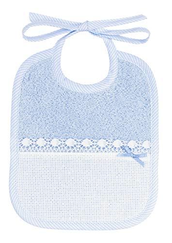 Babero de rizo para bordar con bolsillo de tela Aida, azul