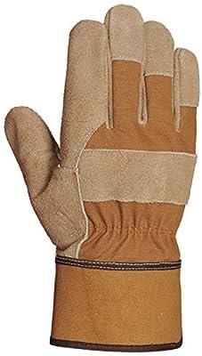 Bellingham Canvas and Leather Work Gloves, Premium Triple Reinforced Split Grain Cowhide Palm, Canvas Gauntlet