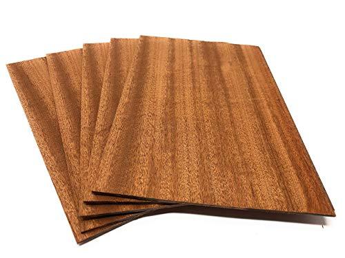 4-5 Furniere in der Holzart Mahagoni, Gesamtmenge: 0,2qm; Edelfurnier Echtholz Holzplatte geeignet für: Modellbau, Foto, als Bastelholz, Preisschilder Holzfurnier zum Basteln Intarsien DIY