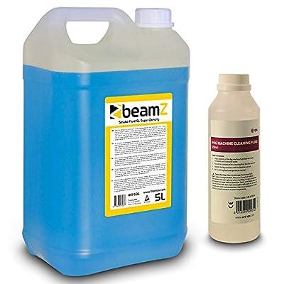 beamz Smoke Fluid Super Density 5 Litre Blue & Fog Machine Cleaner Liquid