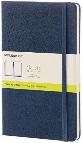 Moleskine - Klassisches Blanko Notizbuch - Hardcover mit Elastischem Verschlussband - Farbe Saphirblau - Größe A5 13 x 21 cm - 208 Seiten