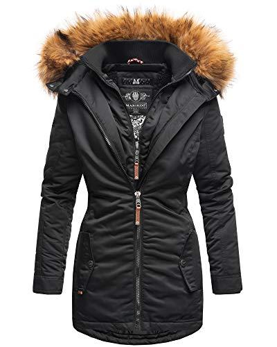 Marikoo Damen Winter Jacke Stepp Parka Mantel Winterjacke warm gefüttert Kunstpelz SANAKOO S-XXL (XL, Schwarz)